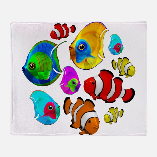 Tropical Fishes Pattern Throw Blanket