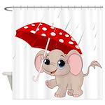 Cute Elephant With Umbrella Shower Curtain