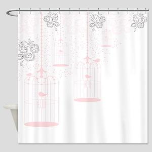 Pink Vintage Bird Cages Shower Curtain