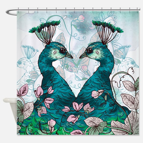 Watercolor Peacocks In Teal Shower Curtain