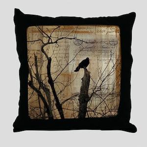 Crow Collage Throw Pillow