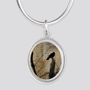 Crow Collage Silver Oval Necklace