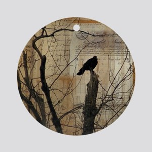 Crow Collage Round Ornament