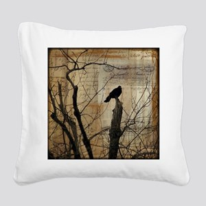 Crow Collage Square Canvas Pillow