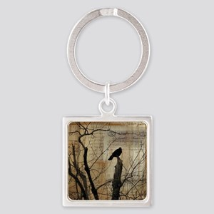 Crow Collage Square Keychain