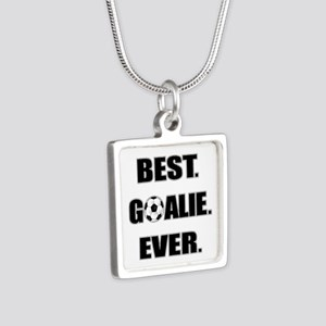 Best. Goalie. Ever. Silver Square Necklace