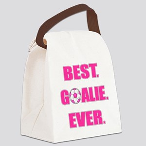 Best. Goalie. Ever. Pink Canvas Lunch Bag