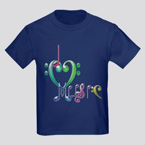 I Love Music Kids Dark T-Shirt