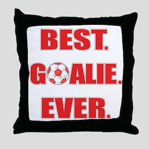 Best. Goalie. Ever. Red Throw Pillow