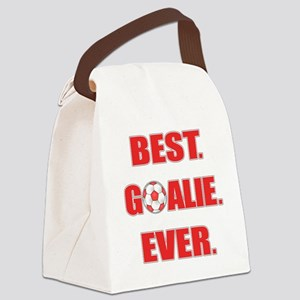 Best. Goalie. Ever. Red Canvas Lunch Bag