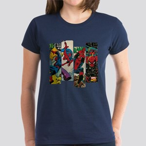 Spiderman Comic Panel Women's Dark T-Shirt