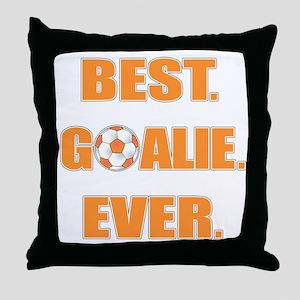 Best. Goalie. Ever. Orange Throw Pillow