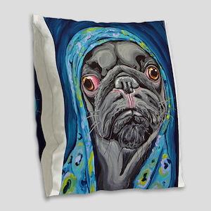 Black Pug in Hoodie Burlap Throw Pillow