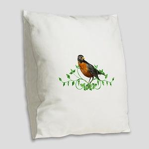 Beautiful Robin Burlap Throw Pillow