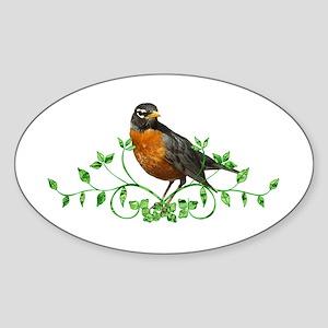 Beautiful Robin Sticker (Oval)