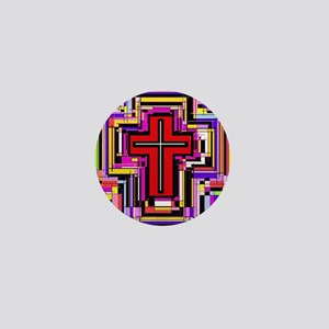 The Christian Holly Cross. Mini Button