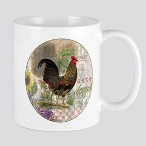 Vintage Rooster French Collage Mugs