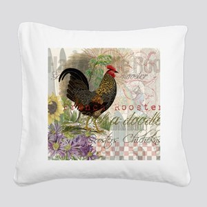 Vintage Rooster French Collage Square Canvas Pillo