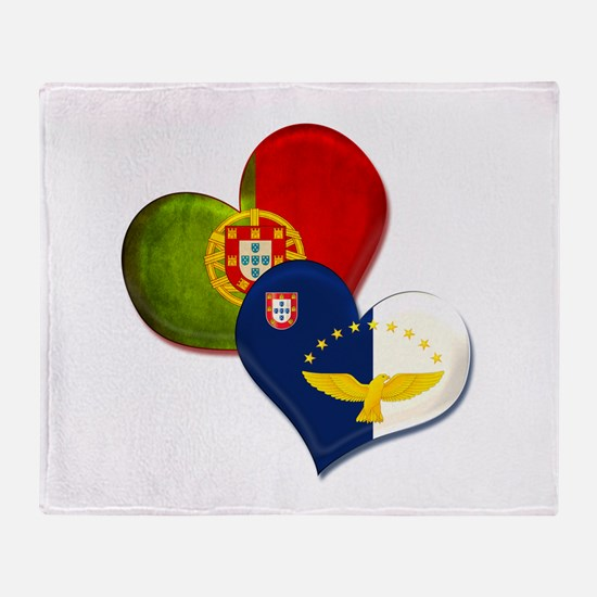 Portugal and Azores hearts Throw Blanket