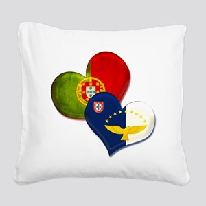 Portugal and Azores hearts Square Canvas Pillow