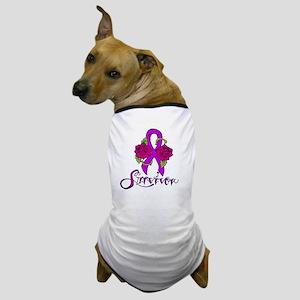 Survivor Ribbon Tattoo with Roses Dog T-Shirt