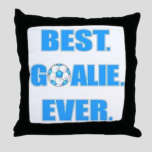 Best. Goalie. Ever. Blue Throw Pillow