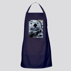 Denim Blue Sea Otter Apron (dark)