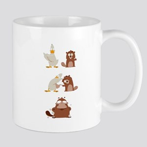 Duck And Beaver Is A Platypus Humor Parody Mugs