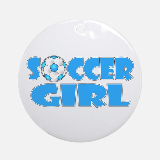 Soccer Girl Blue Text Ornament (Round)