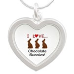 I Love Chocolate Bunnies Silver Heart Necklace