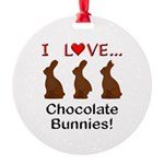 I Love Chocolate Bunnies Round Ornament