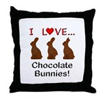 I Love Chocolate Bunnies Throw Pillow