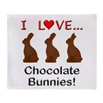 I Love Chocolate Bunnies Throw Blanket