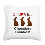 I Love Chocolate Bunnies Square Canvas Pillow