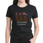 I Love Chocolate Bunnies Women's Dark T-Shirt