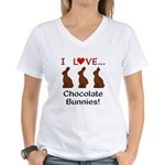 I Love Chocolate Bunnies Women's V-Neck T-Shirt