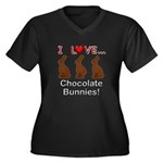 I Love Choco Women's Plus Size V-Neck Dark T-Shirt
