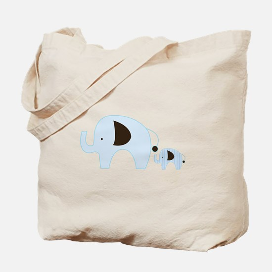 Blue Mod Elephants Mom and Baby Tote Bag