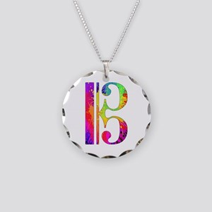 Colorful Alto Clef Necklace Circle Charm