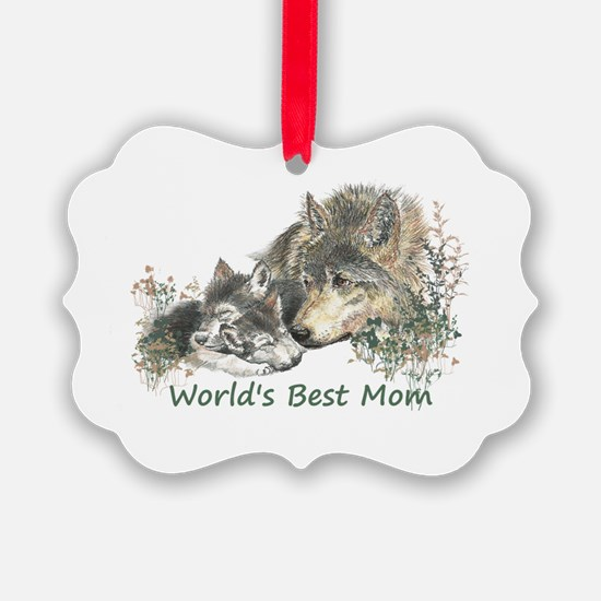 Worlds Best Mom Wolf Cubs Animal Ornament