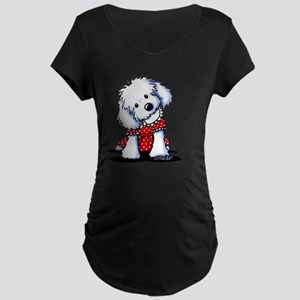 Maltese Cutie In Dots Maternity Dark T-Shirt