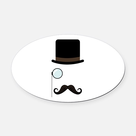 Classy Gentleman Mustache Oval Car Magnet