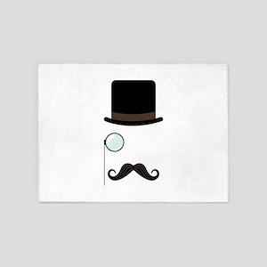 Classy Gentleman Mustache 5'x7'Area Rug