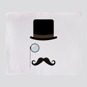 Classy Gentleman Mustache Throw Blanket