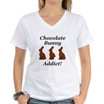 Chocolate Bunny Addict Women's V-Neck T-Shirt