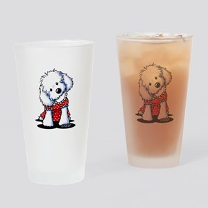 Maltese In Dots Drinking Glass