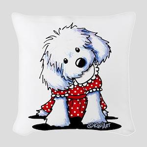 Maltese In Dots Woven Throw Pillow