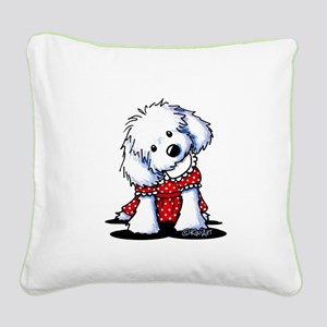 Maltese In Dots Square Canvas Pillow
