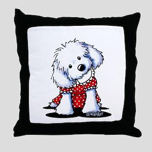 Maltese In Dots Throw Pillow