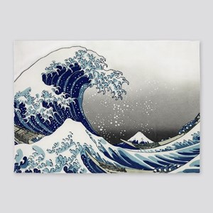 great wave of Kanagawa by hokusai 5'x7'Area Rug